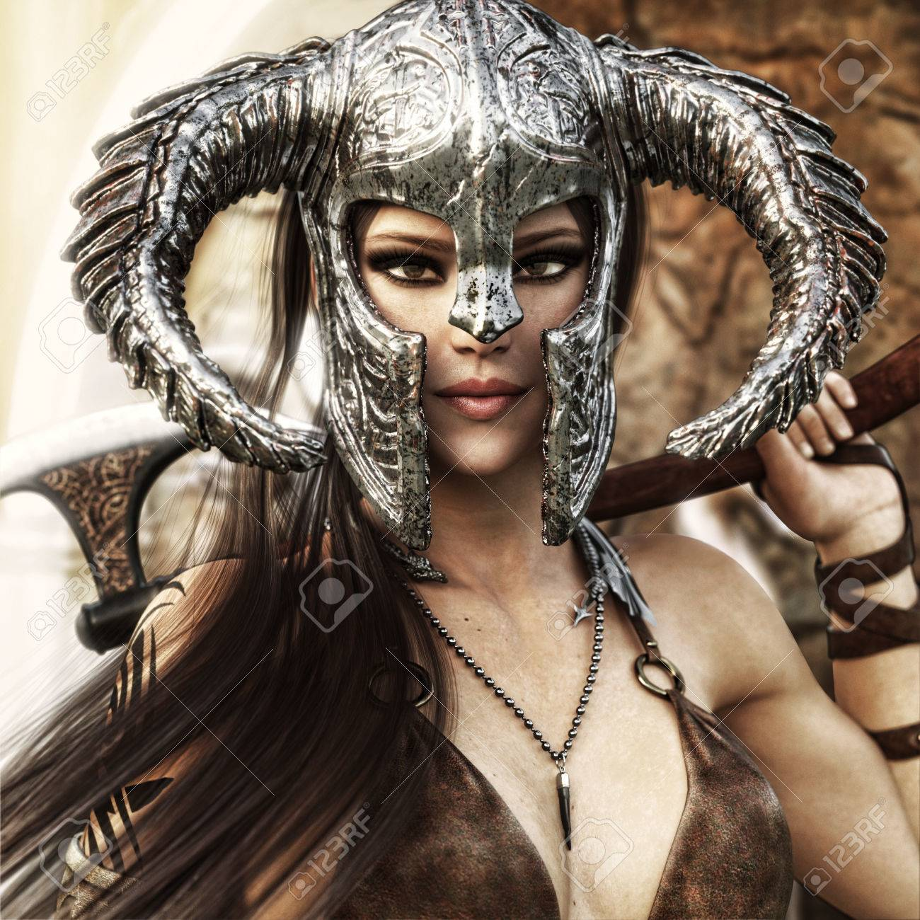 Beautiful and deadly fantasy warrior female wearing a traditional barbarian style costume. 3d rendering - 75508202