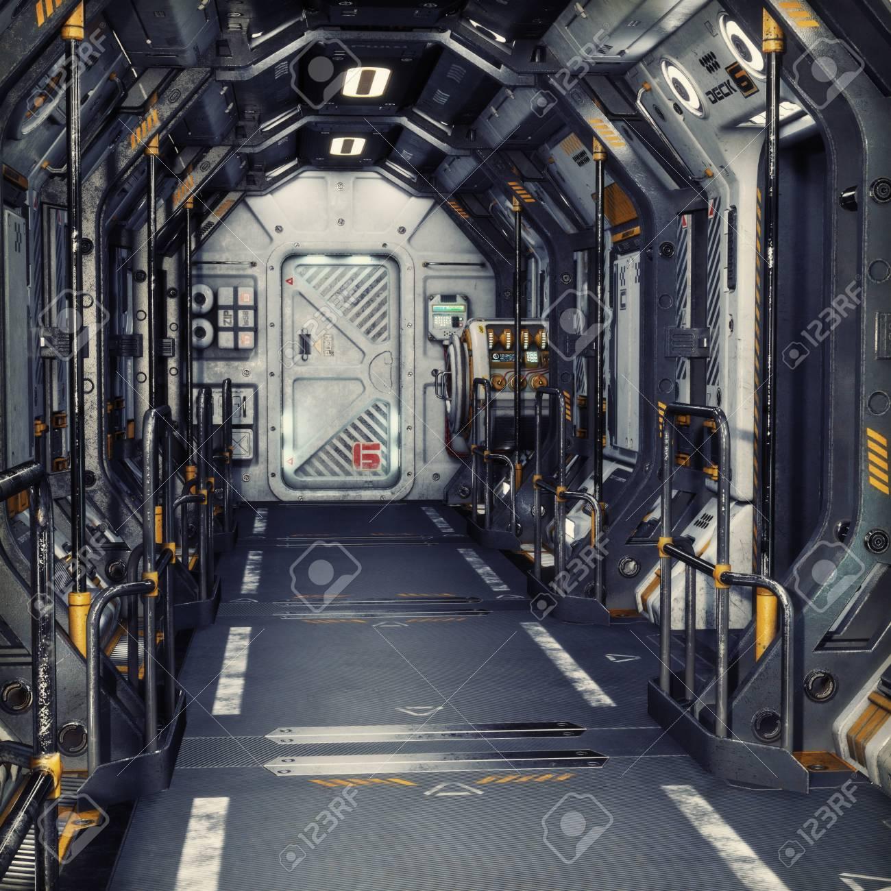 Futuristic metal Sci-Fi Corridor tunnel or ship interior . 3d rendering illustration . 3d render - 75477558