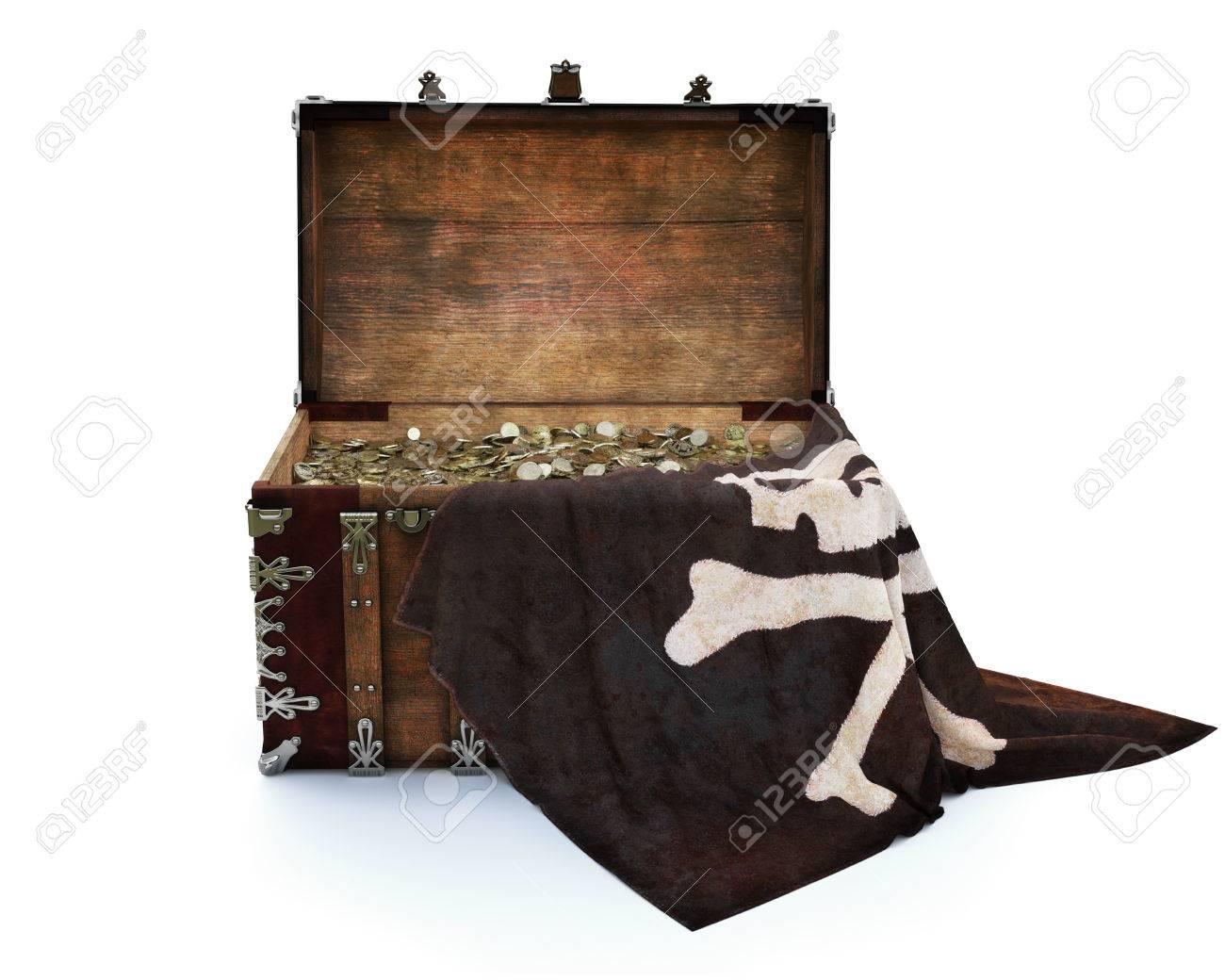 nouveau style 9b25c 260d2 Pirate d'or. Un vieux coffre de pirate en bois drapé avec un drapeau et  rempli de pièces d'or. Isolé sur fond blanc. Rendu 3D