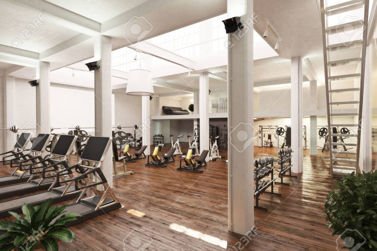 Elegant Interior Of An Upscale Cross Fit And Workout Gym . 3d Rendering Stock Photo    82337325