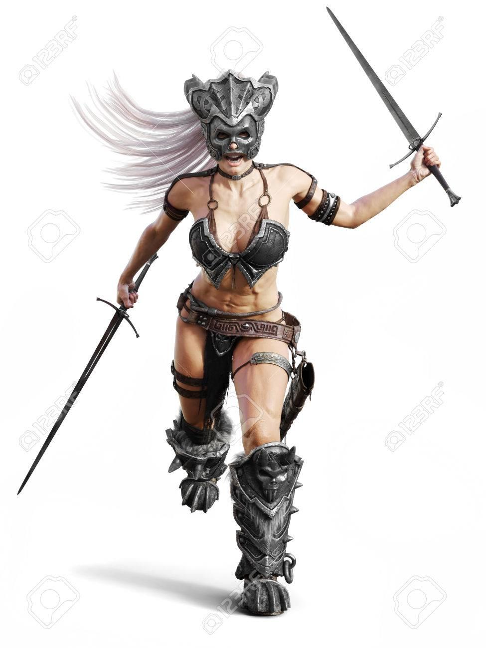 fierce armed female barbarian warrior running into battle on stock