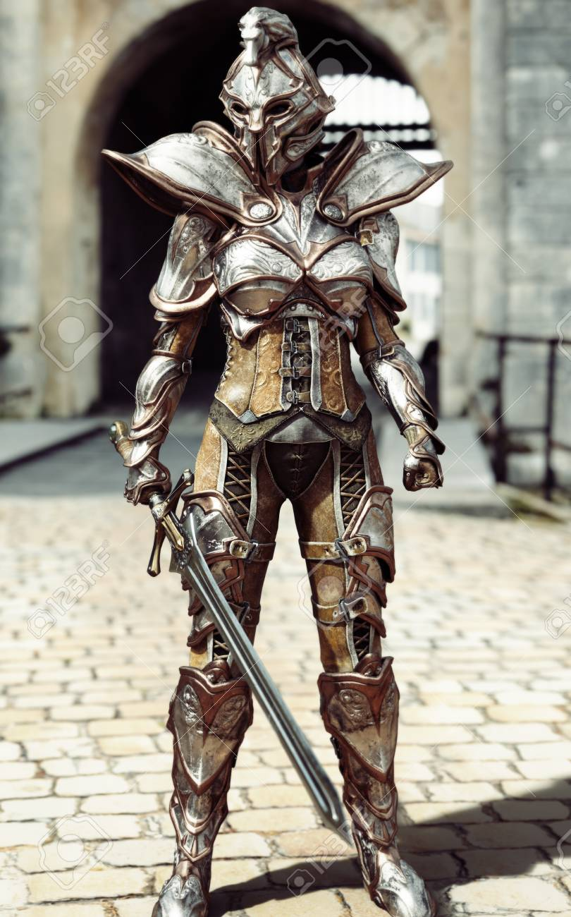 guardian of the gate female fully armored knight standing guard