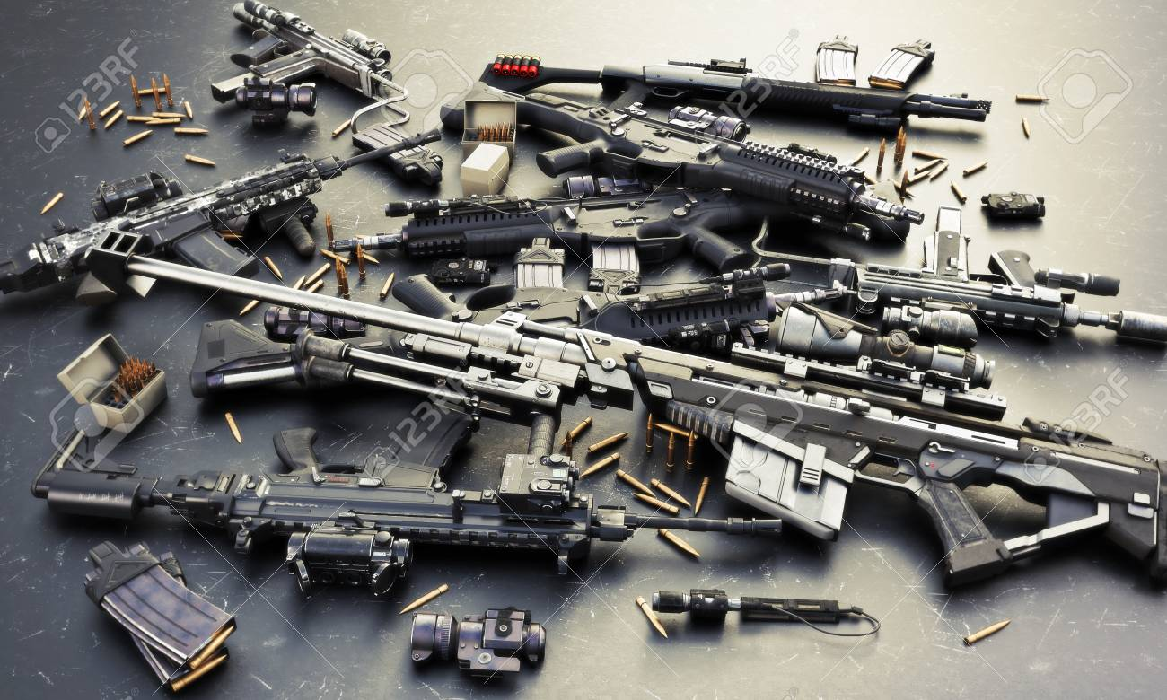Weapons stash with automatic assault rifles and accessories,shotgun and sniper rifle. Consisting of bullet rounds, magazines , front and rear sites , and a laser guided rifle scope. 3d rendering - 100332258