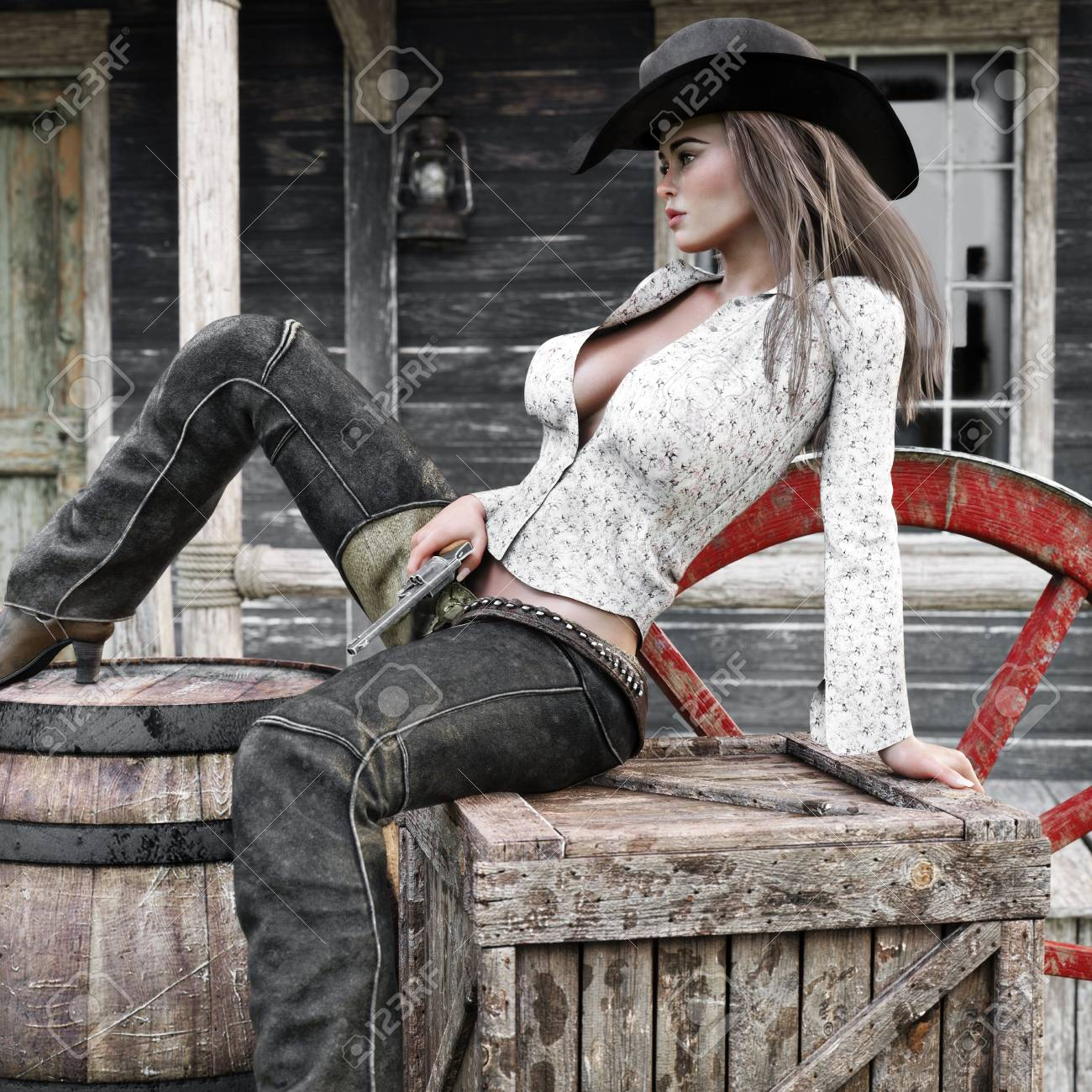 Sexy classy female cowgirl gunslinger relaxing in town with her revolver pistol at the ready. 3d rendering - 114976151