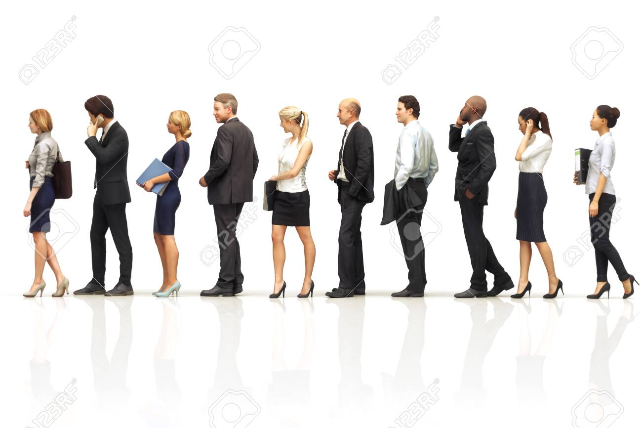Group of business people standing in line on a white reflective background. 3d rendering - 125268286