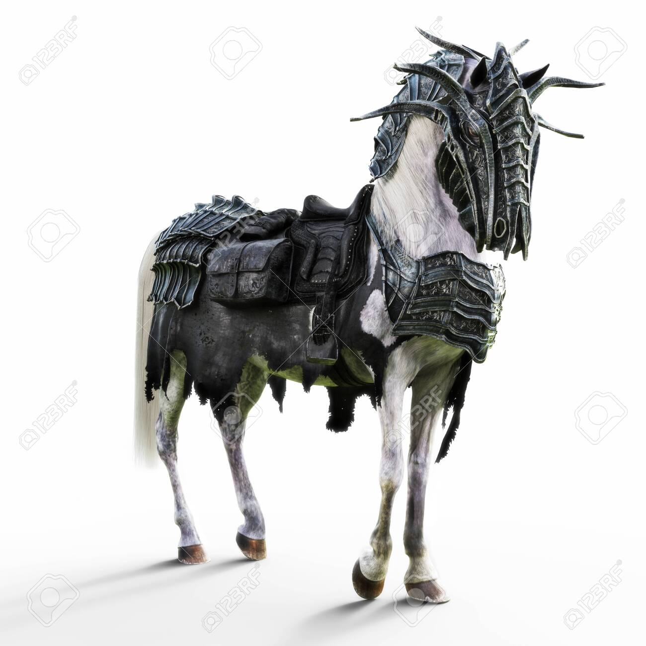 Angled View Of A Posing Armored White War Horse On A Isolated Stock Photo Picture And Royalty Free Image Image 130318818