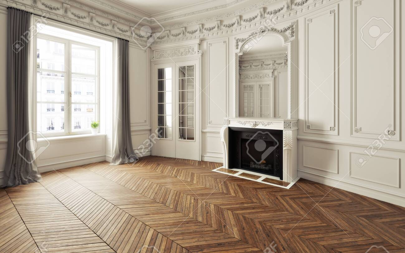 Empty room of an elegant residence with fireplace ,white trim Victorian accent interior space and herringbone wood flooring. Photo realistic 3d illustration. 3d rendering - 134339682