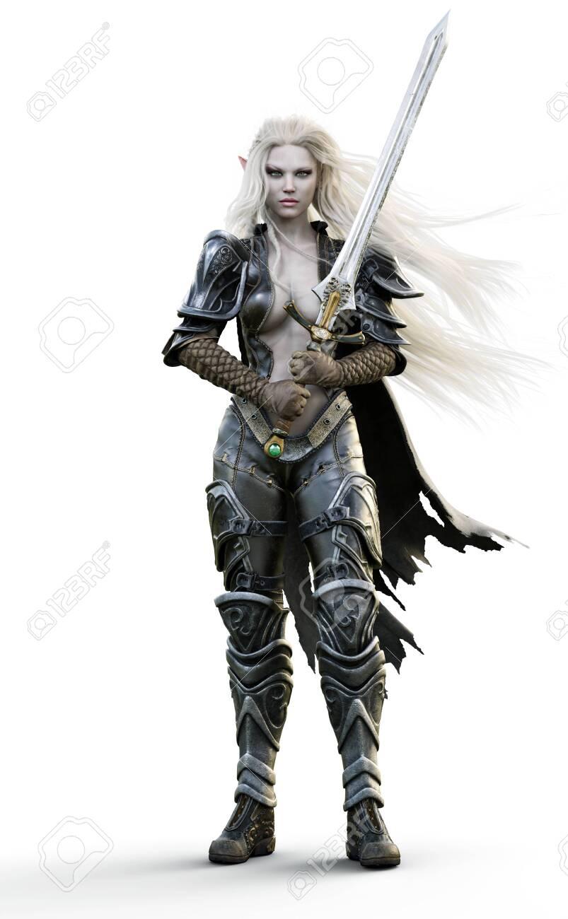 Portrait Of A Fantasy Heavily Armored Sexy Dark Elf Female Warrior