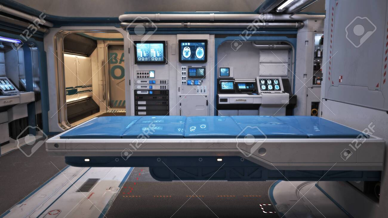 Sci Fi Futuristic Interior Of A Medical Bay With Treatment Bed Stock Photo Picture And Royalty Free Image Image 143572015