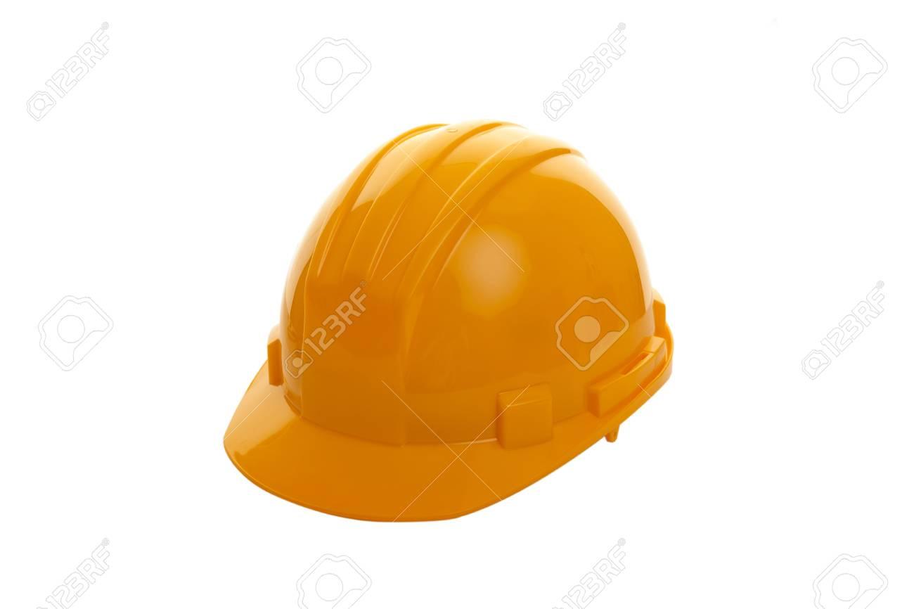 Yellow hard hat shot on white background Stock Photo - 13303211