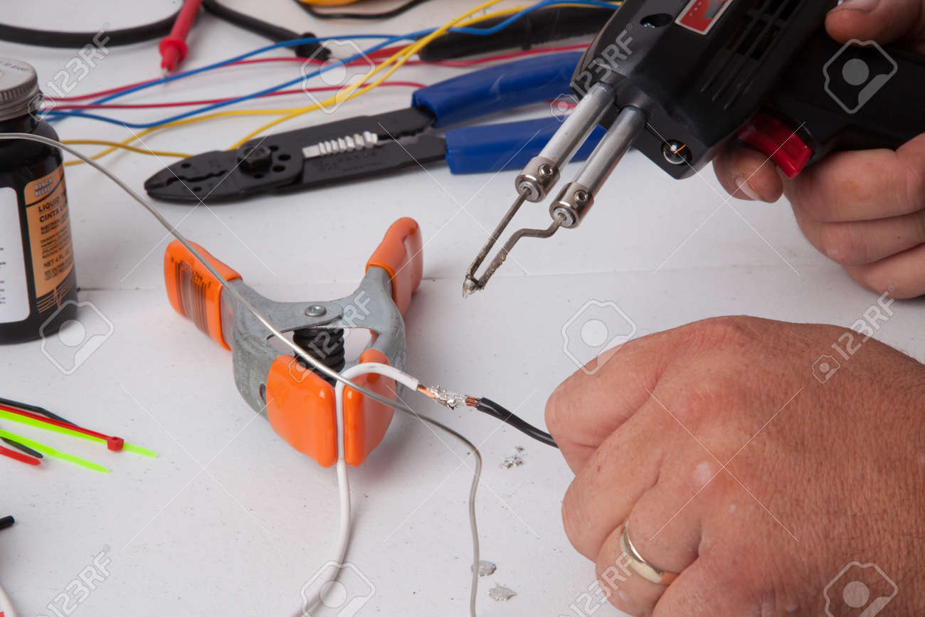 A Bunch Of Tools Used For Soldering Wires. Stock Photo, Picture And ...