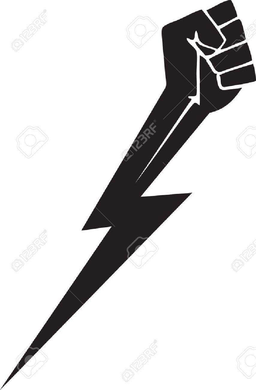 Fist with lightning