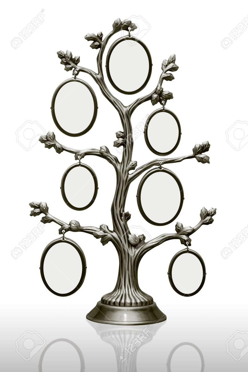 Metall-Stammbaum Mit Kleinen Rahmen In Weiß Lizenzfreie Fotos ...