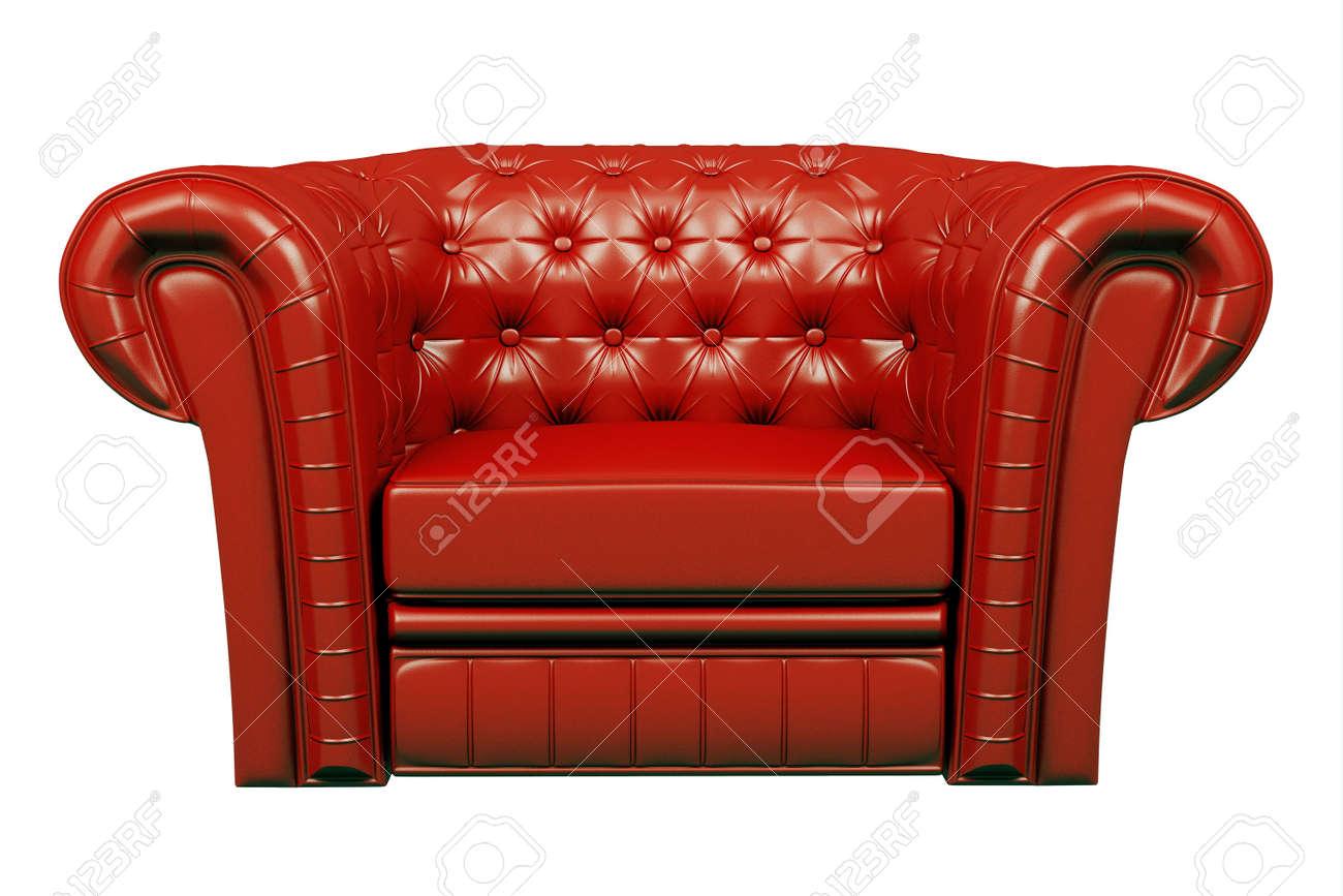 Rode Lederen Fauteuil.Rood Lederen Fauteuil Geisoleerd Dan De Witte 3d