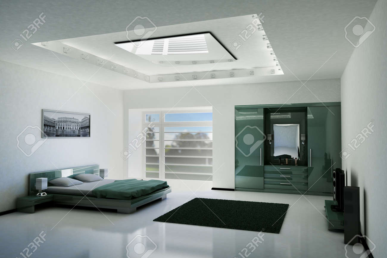 Bedroom Interior With LCD TV And Speakers 3d Render Stock Photo ...