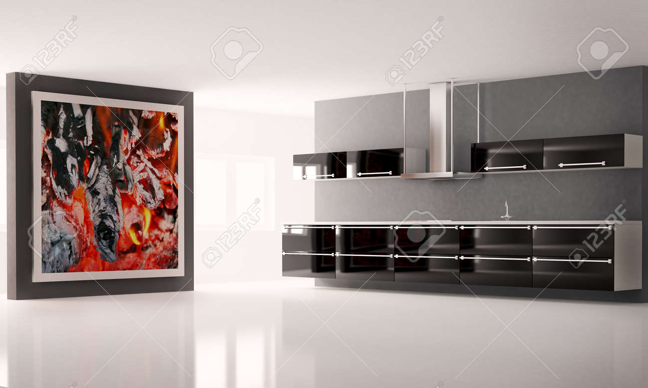Modern kitchen with big picture on the wall interior Stock Photo - 5846179