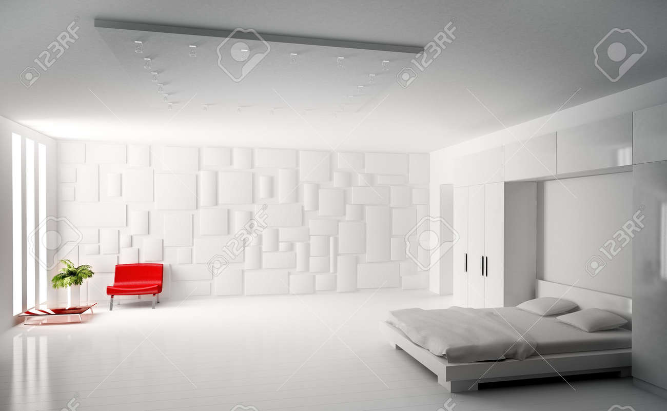 Modern White Bedroom modern white bedroom with red armchair interior 3d render stock
