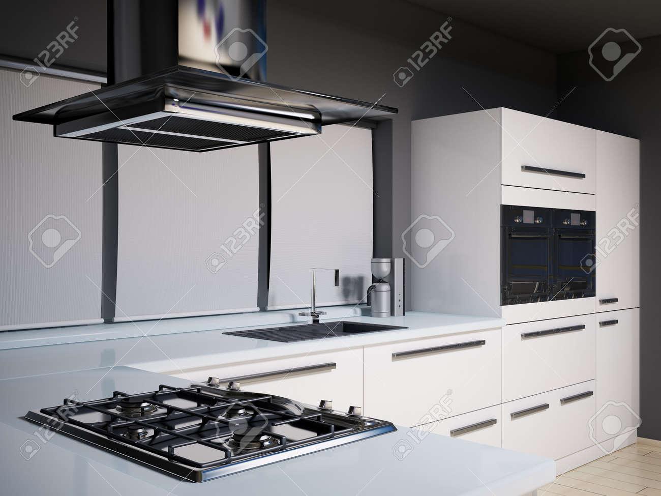 Intérieur De La Cuisine Moderne Avec Gazinière Rendu 3d Banque D ...