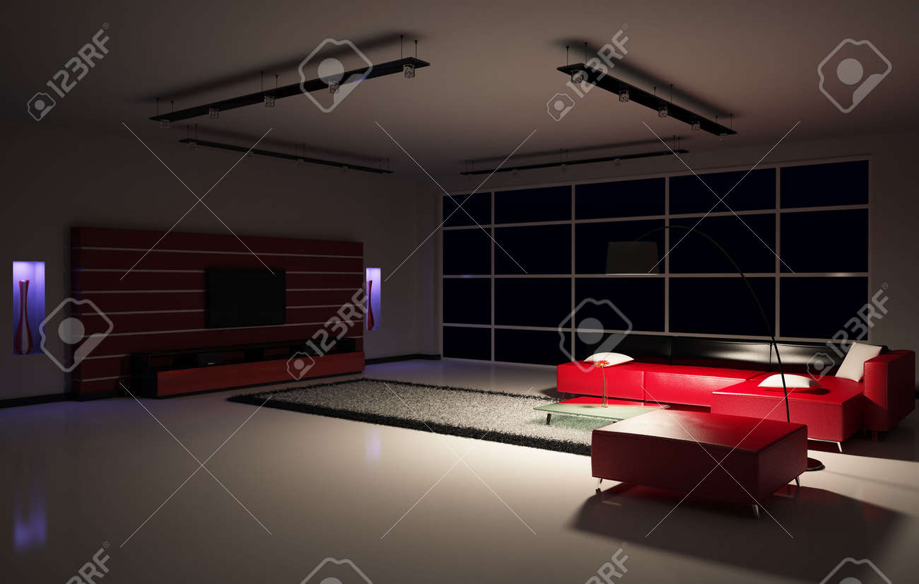 Dark living room night - Dark Room Modern Living Room Interior 3d Render Stock Photo