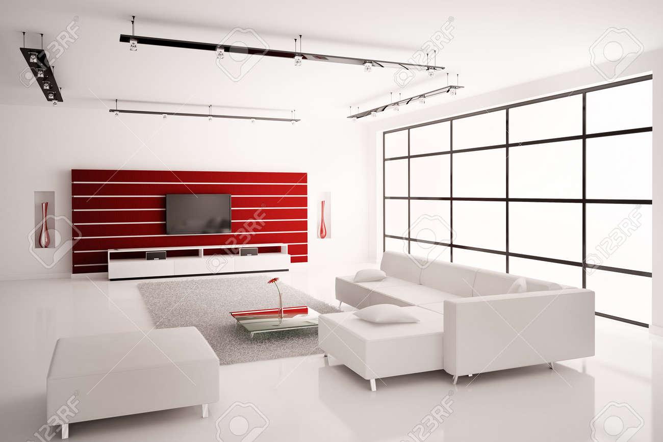 Modern Living room in white red interior 3d render Stock Photo - 6236487