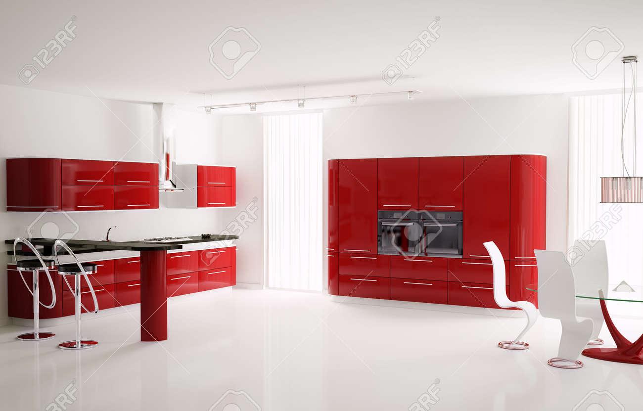 Intérieur de la cuisine moderne rouge avec bar table et selles 3d ...