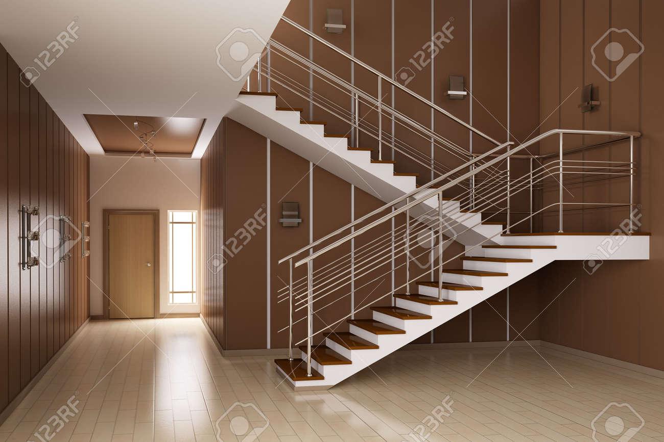 barandilla interior moderno de sala con d de escaleras