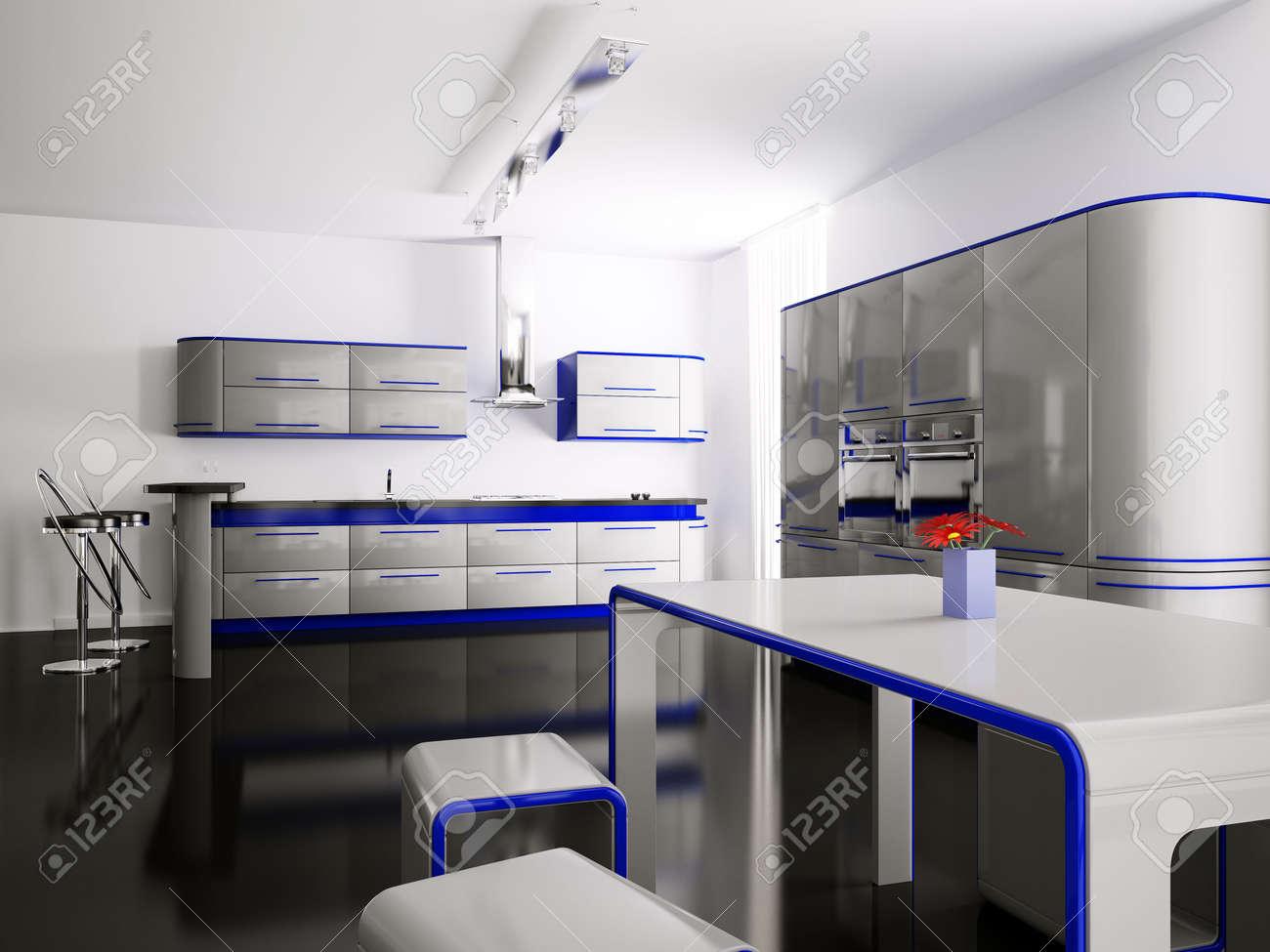 Intérieur de gris bleu cuisine moderne avec bar table et tabourets ...