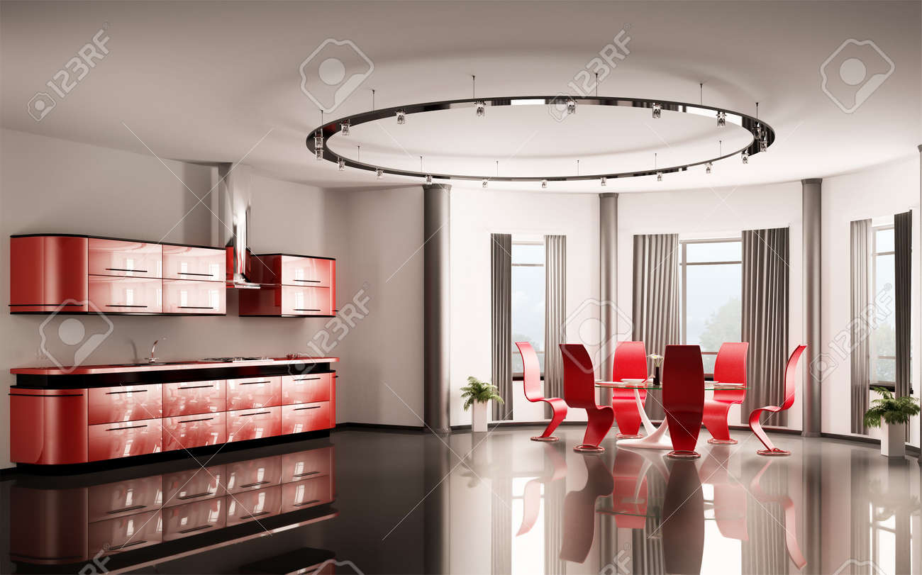 6340579 Modern red kitchen with dining table and six chairs 3d Stock Photo