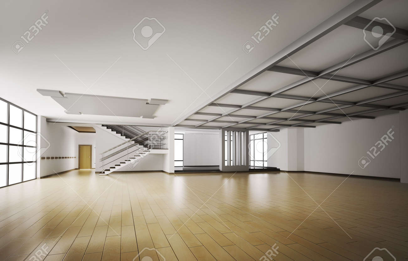 empty interior of apartment 3d stock photo 6340578