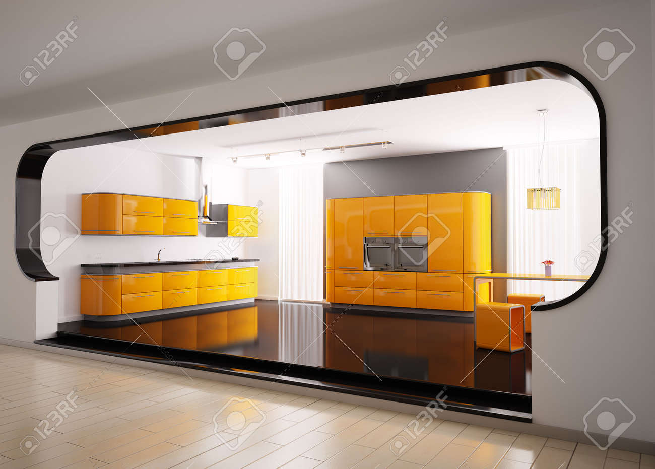 Interior of modern orange gray kitchen 3d Stock Photo - 6340577