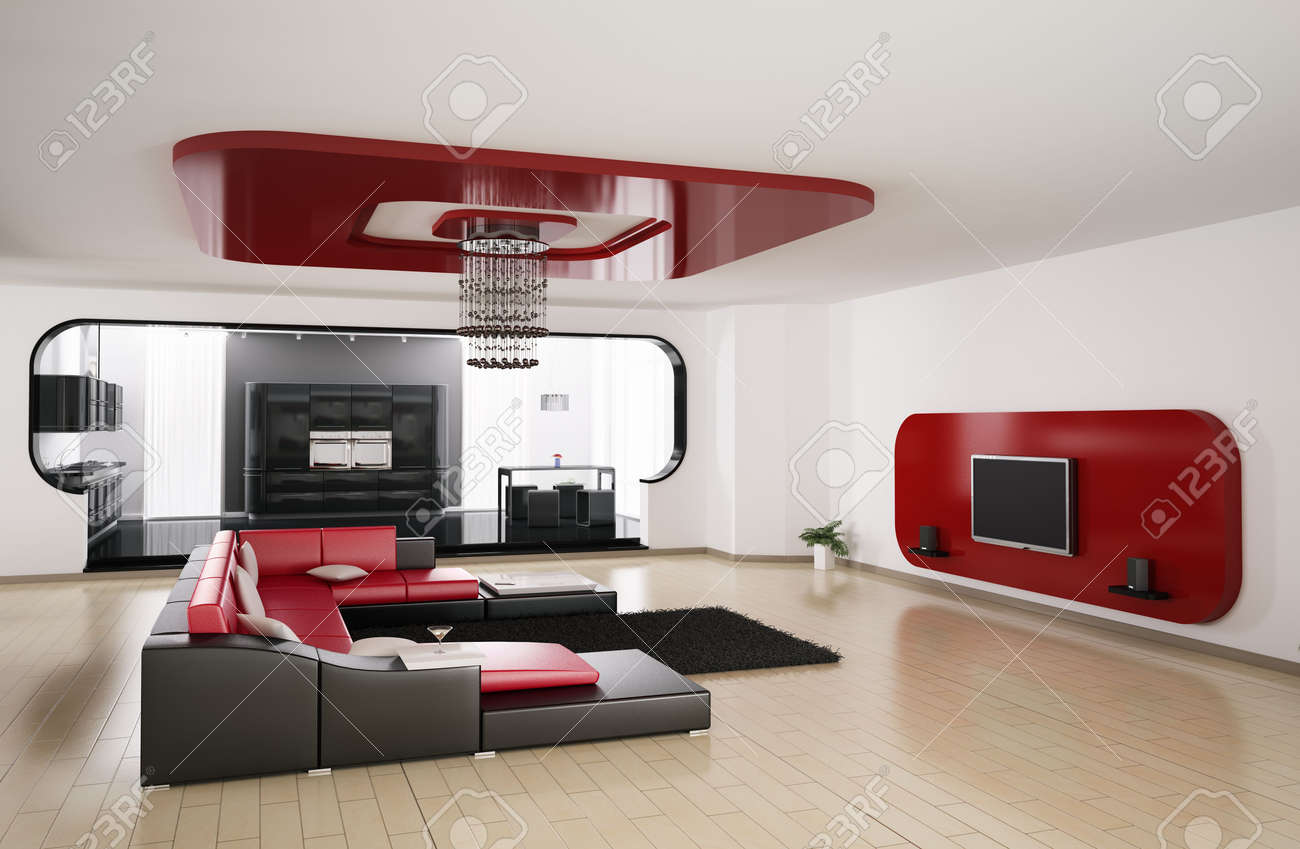 Interior of apartment. Living room, kitchen 3d render Stock Photo - 6371589