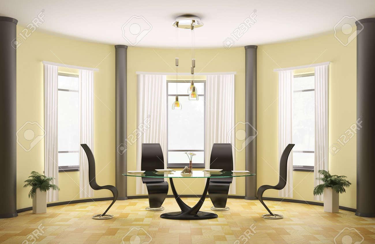 Moderne salle à manger ronde avec verre table et quatre chaises 3d ...