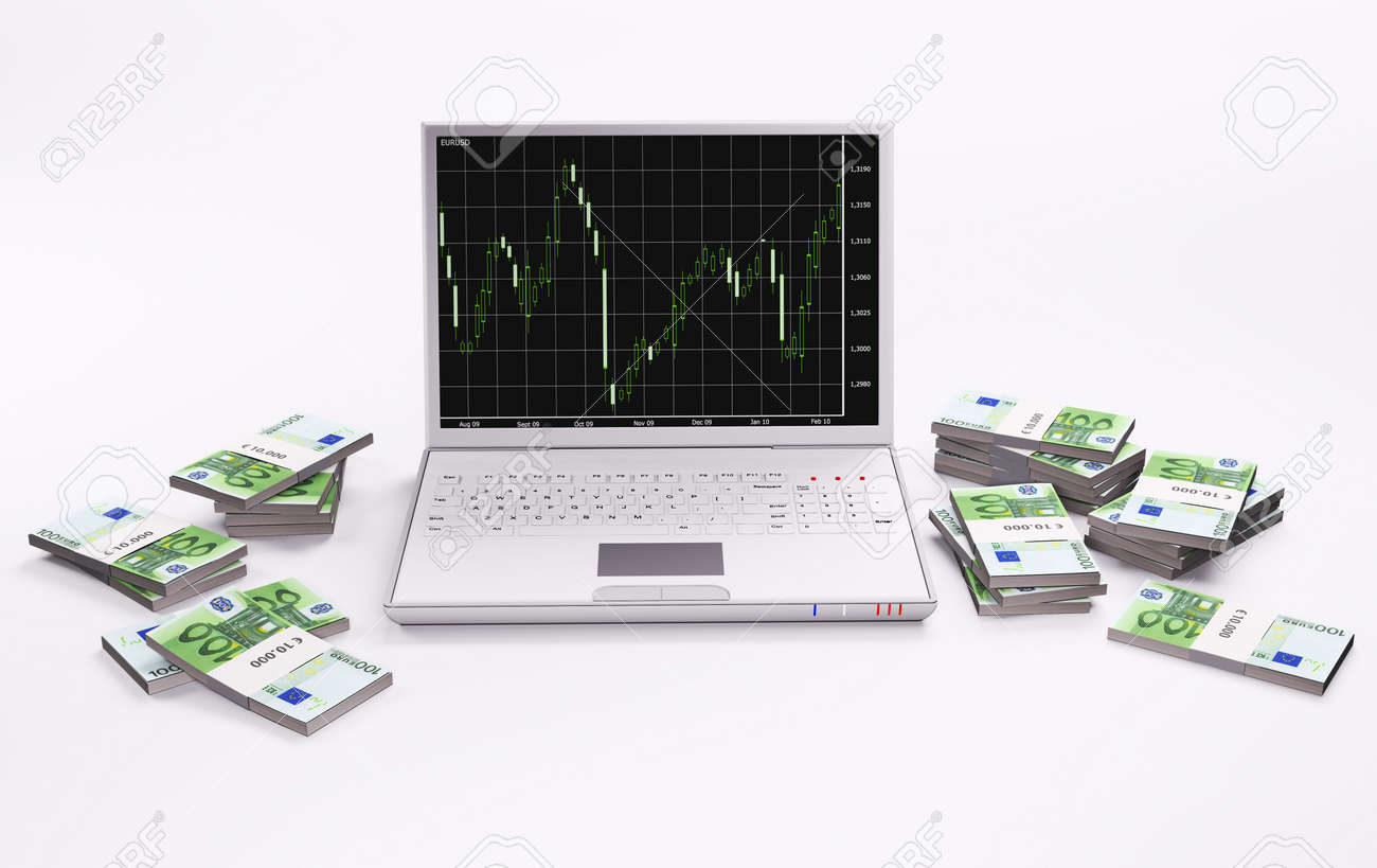 White laptop with forex chart and stacks of euros 3d Stock Photo - 6482088