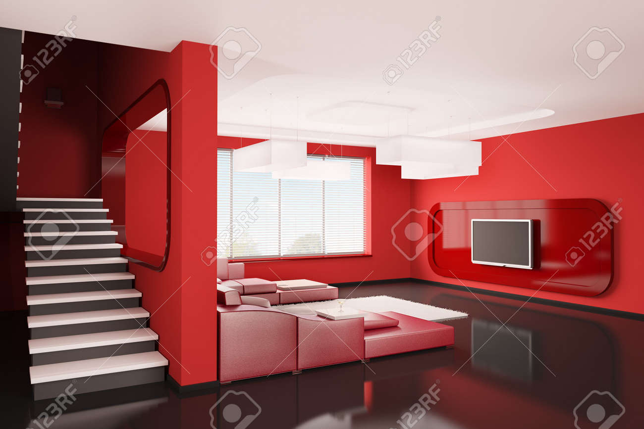 Interior of apartment with stairs 3d render Stock Photo - 6589582