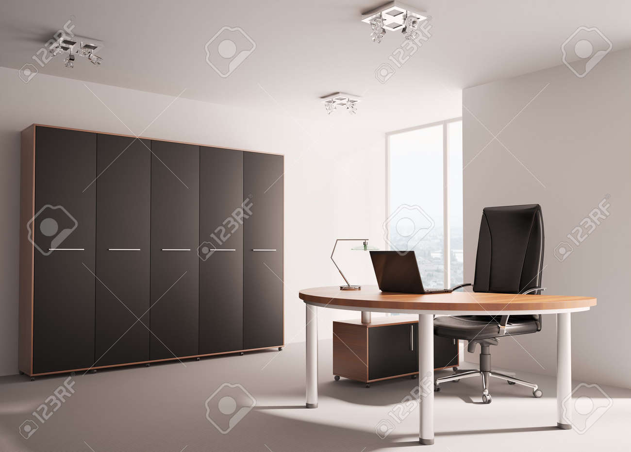 Modern office with wooden table interior 3d render Stock Photo - 6744755