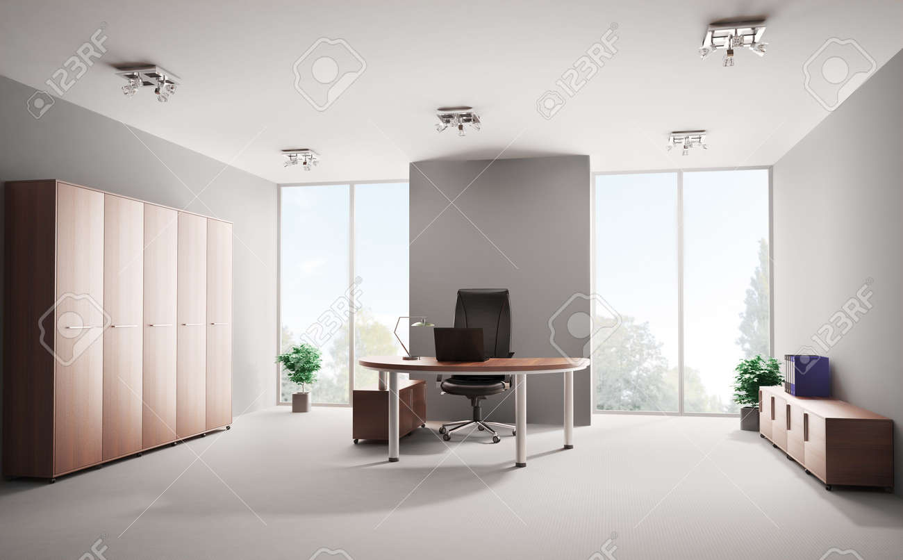 Modern office with wooden furniture interior 3d Stock Photo - 6744754