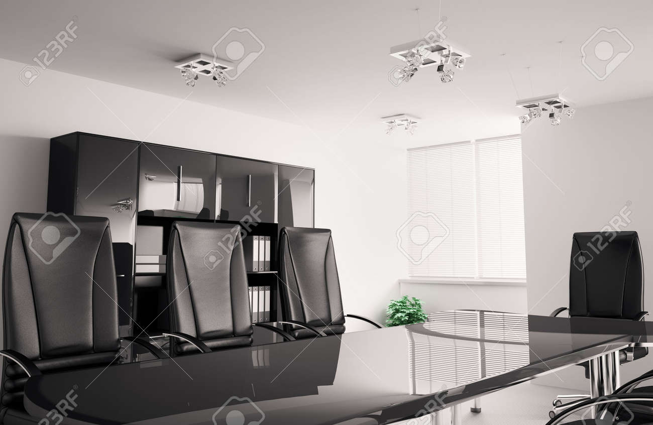 conference room with black furniture interior 3d Stock Photo - 6791522