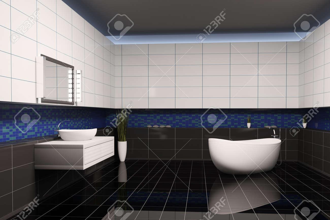 Black and blue bathroom - Bathroom With Black Blue White Walls Interior 3d Stock Photo 6895229