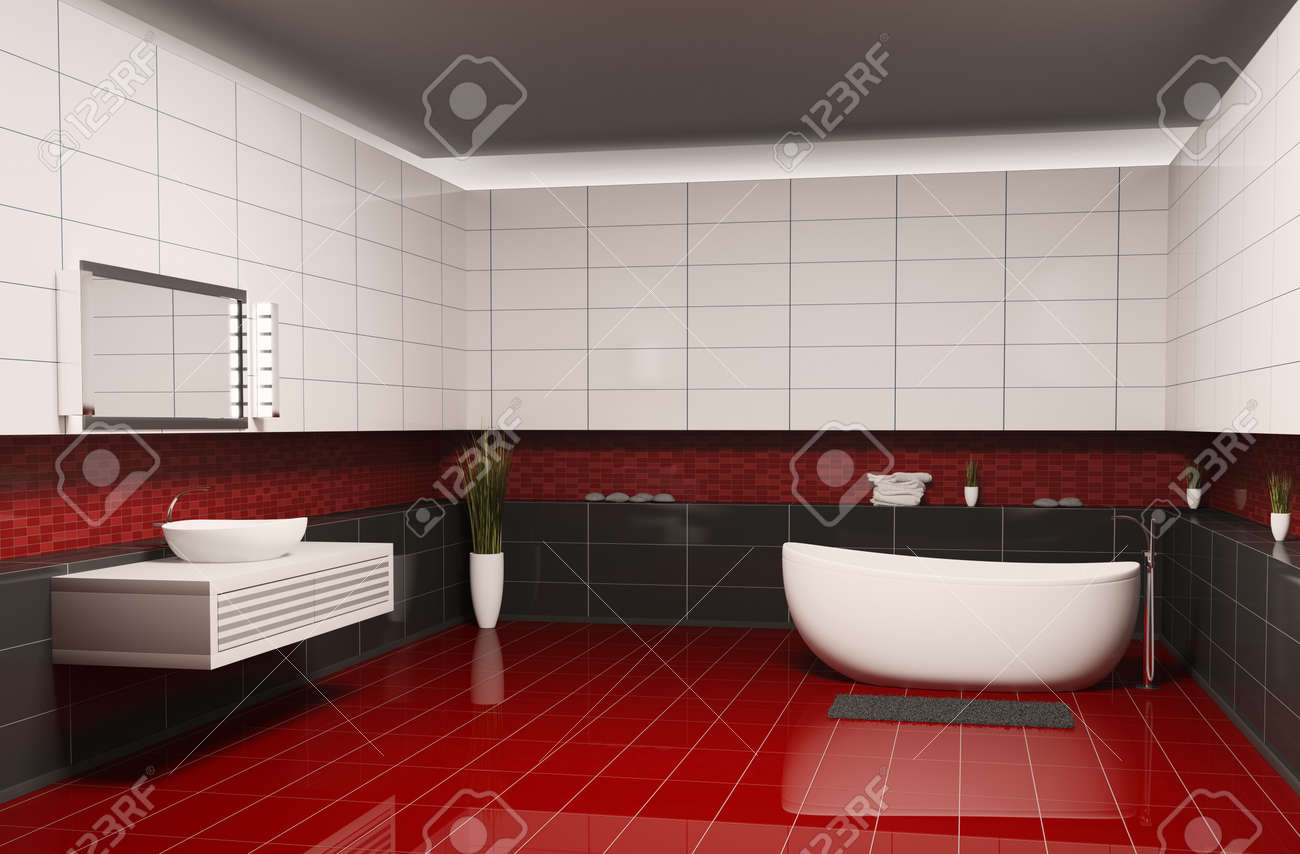 Bathroom with black white walls and red floor interior 3d Stock Photo - 6895230