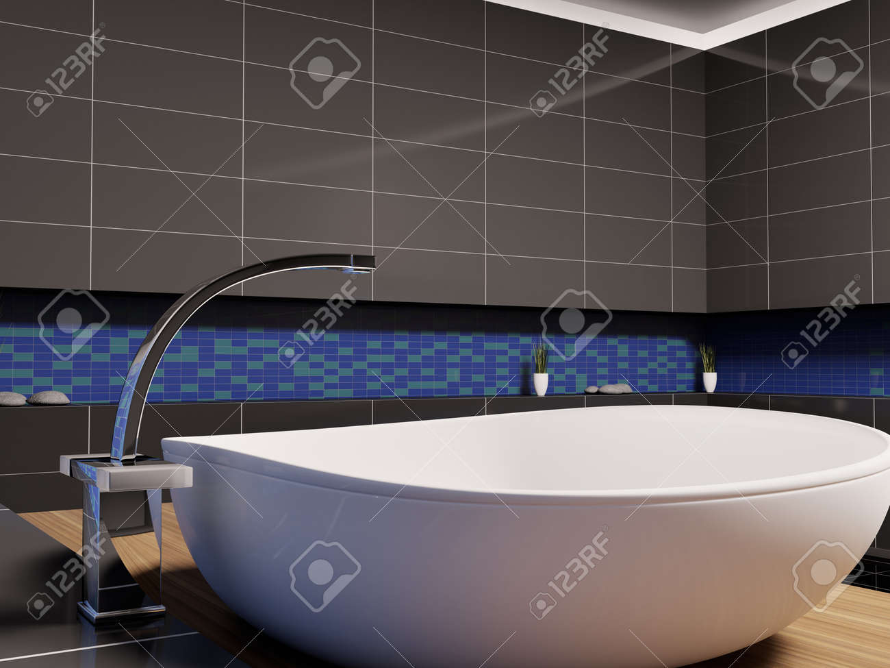 Black and blue bathroom - Stock Photo White Washbasin In Black Blue Bathroom 3d Render