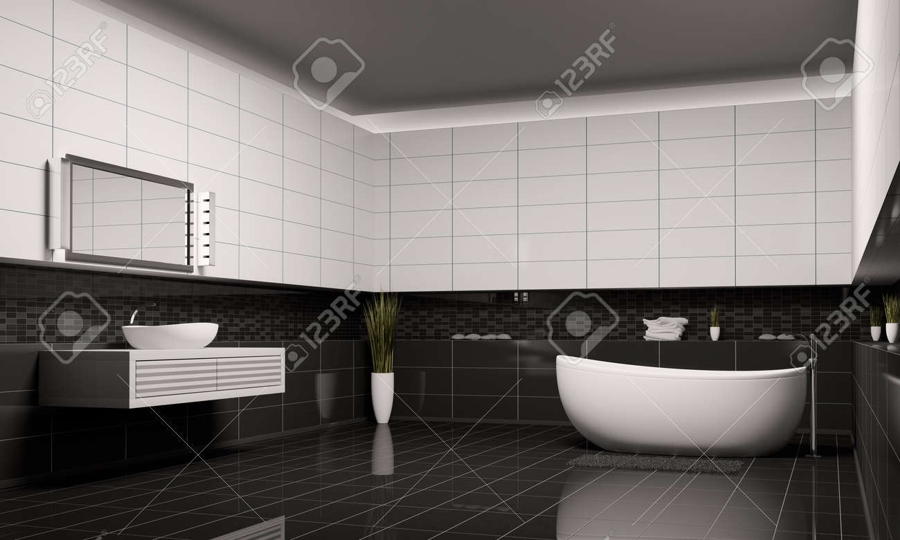Black and white bathroom wall tiles - Bathroom With Black White Walls Interior 3d Render Stock Photo 6979902