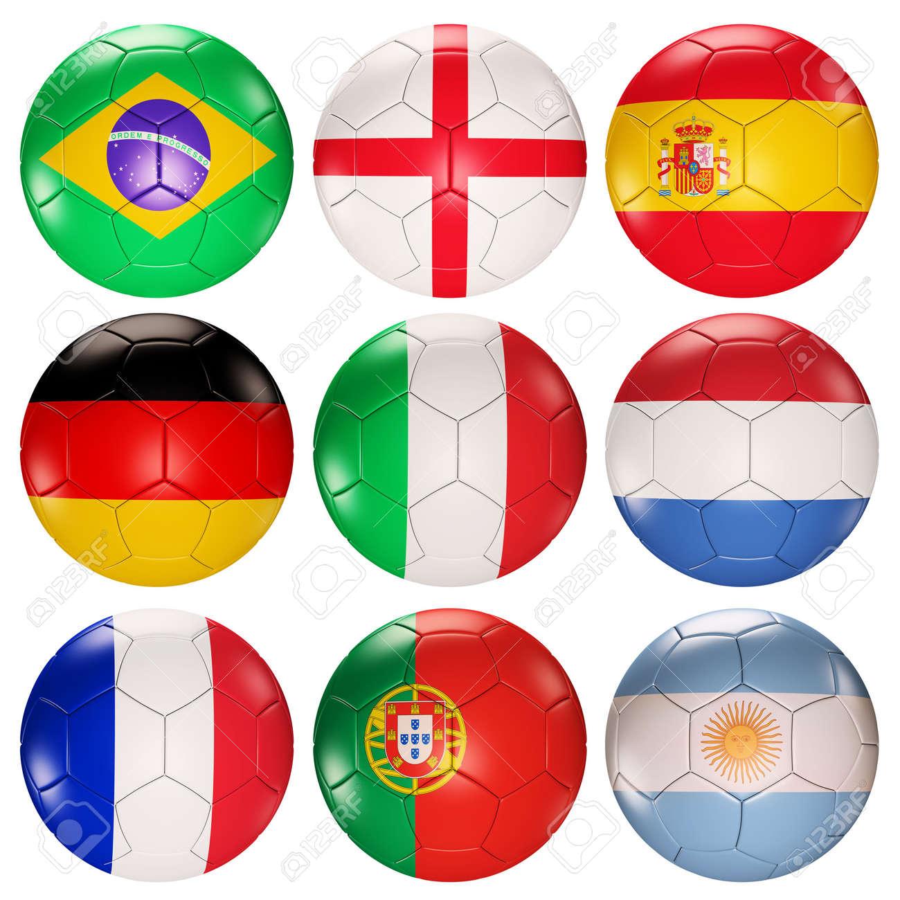 75e0e79b142ab Foto de archivo - Fútbol bolas banderas de países principales en los  ranking de procesamiento 3d