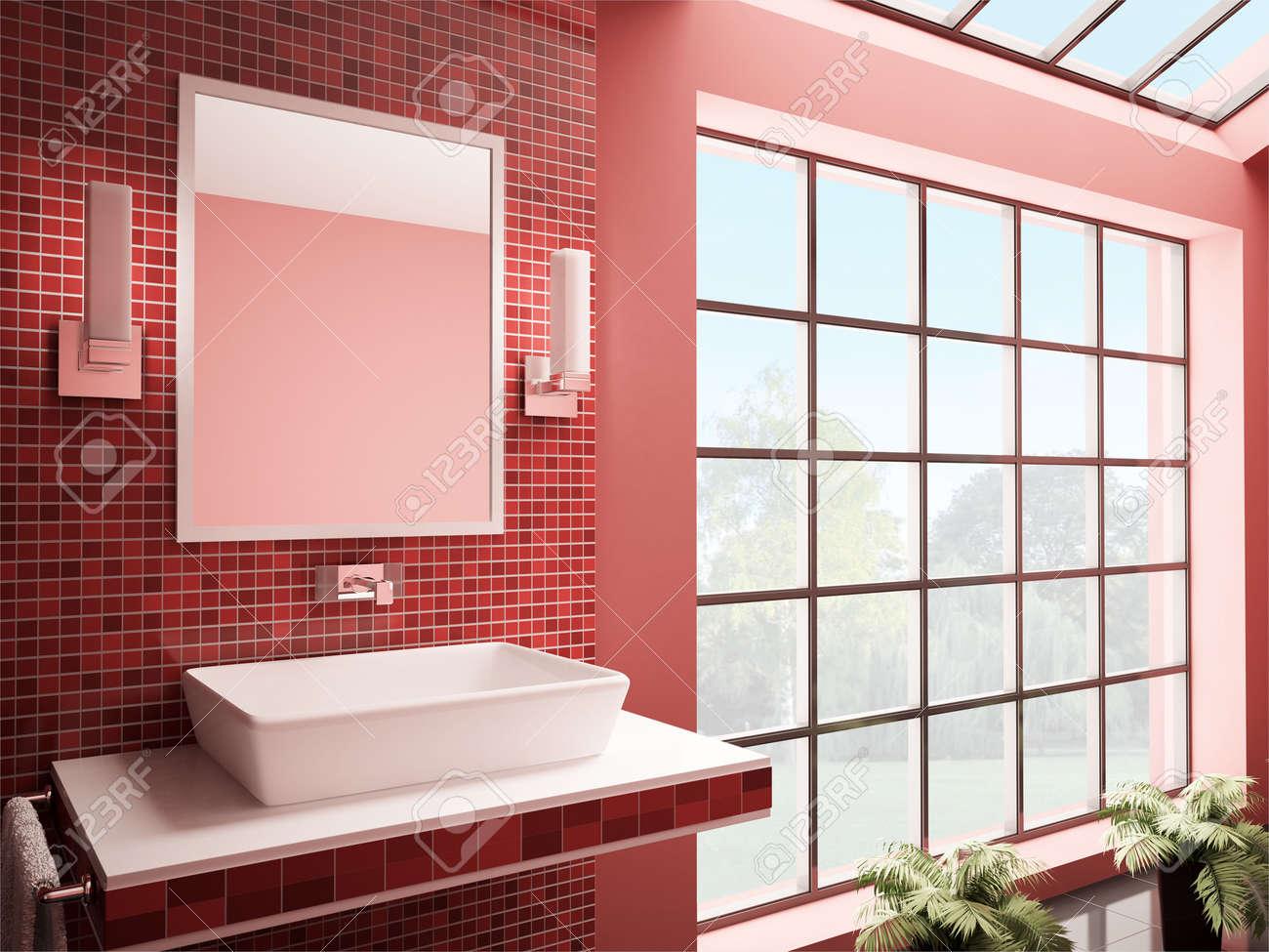 Red Bathroom With Big Window Interior 3d Render Stock Photo