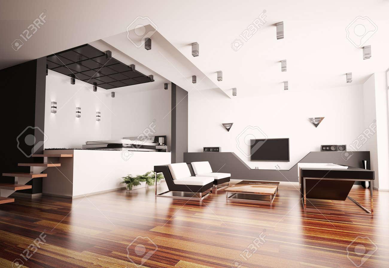 moderno appartamento con soggiorno e camera da letto interior 3d ... - Soggiorno Camera Da Letto
