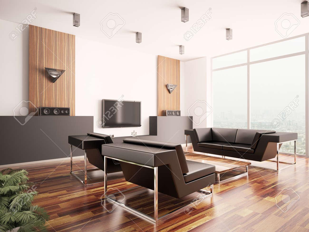 Banque Du0027images   Salon Moderne Avec Parquet Plancher Intérieur 3d