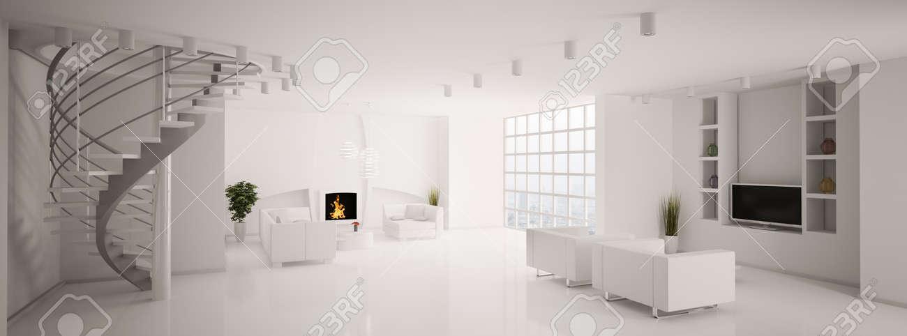 Moderne wohnzimmer mit treppe  Moderne Wohnzimmer Mit Kamin Und Treppe Panorama 3d Lizenzfreie ...