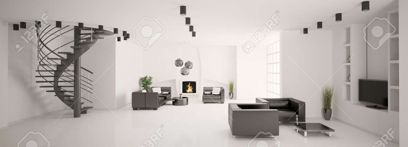 Apartment with stair and fireplace interior panorama 3d render Stock Photo - 7553612
