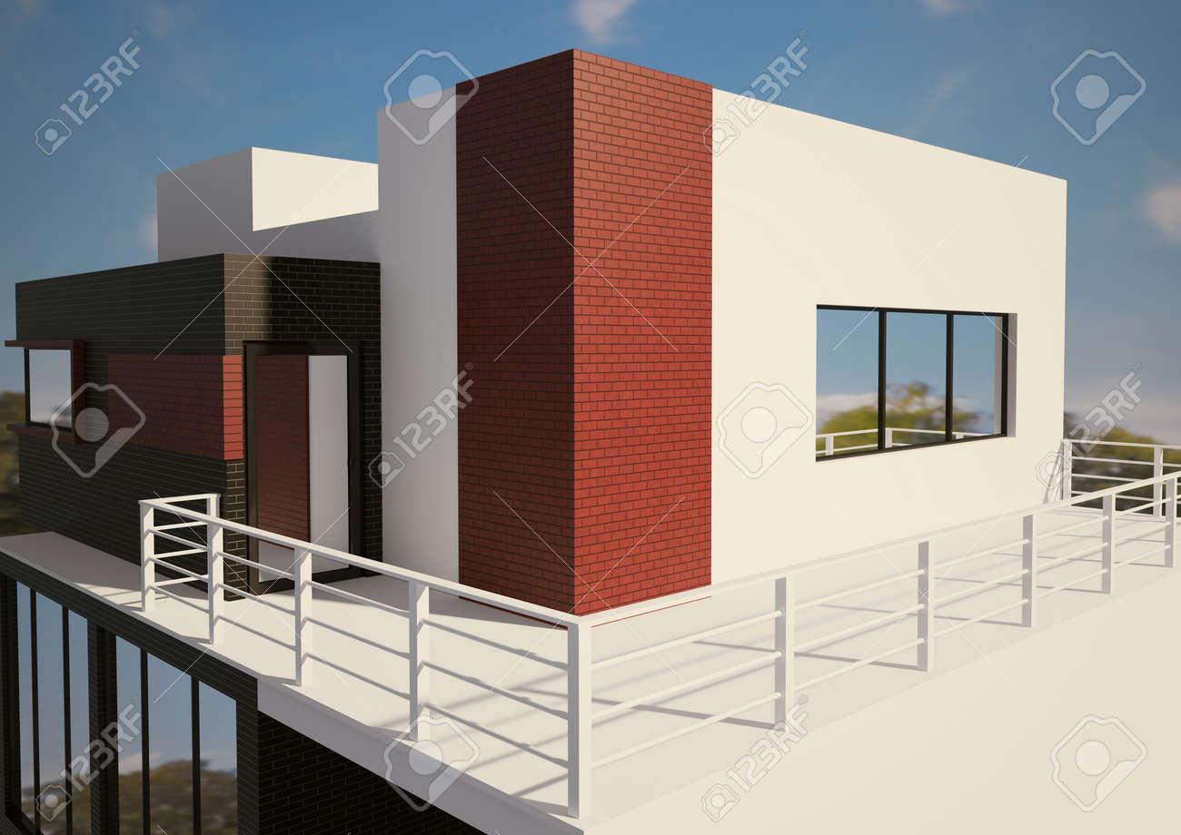 Moderne privà huis exterieur d render royalty vrije foto