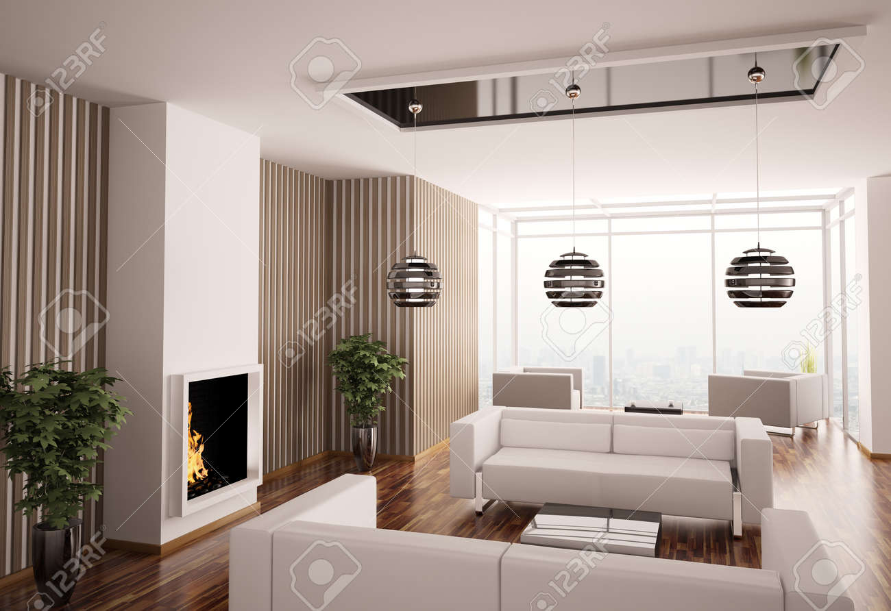 Interior of living room with fireplace 3d render Stock Photo - 7609613