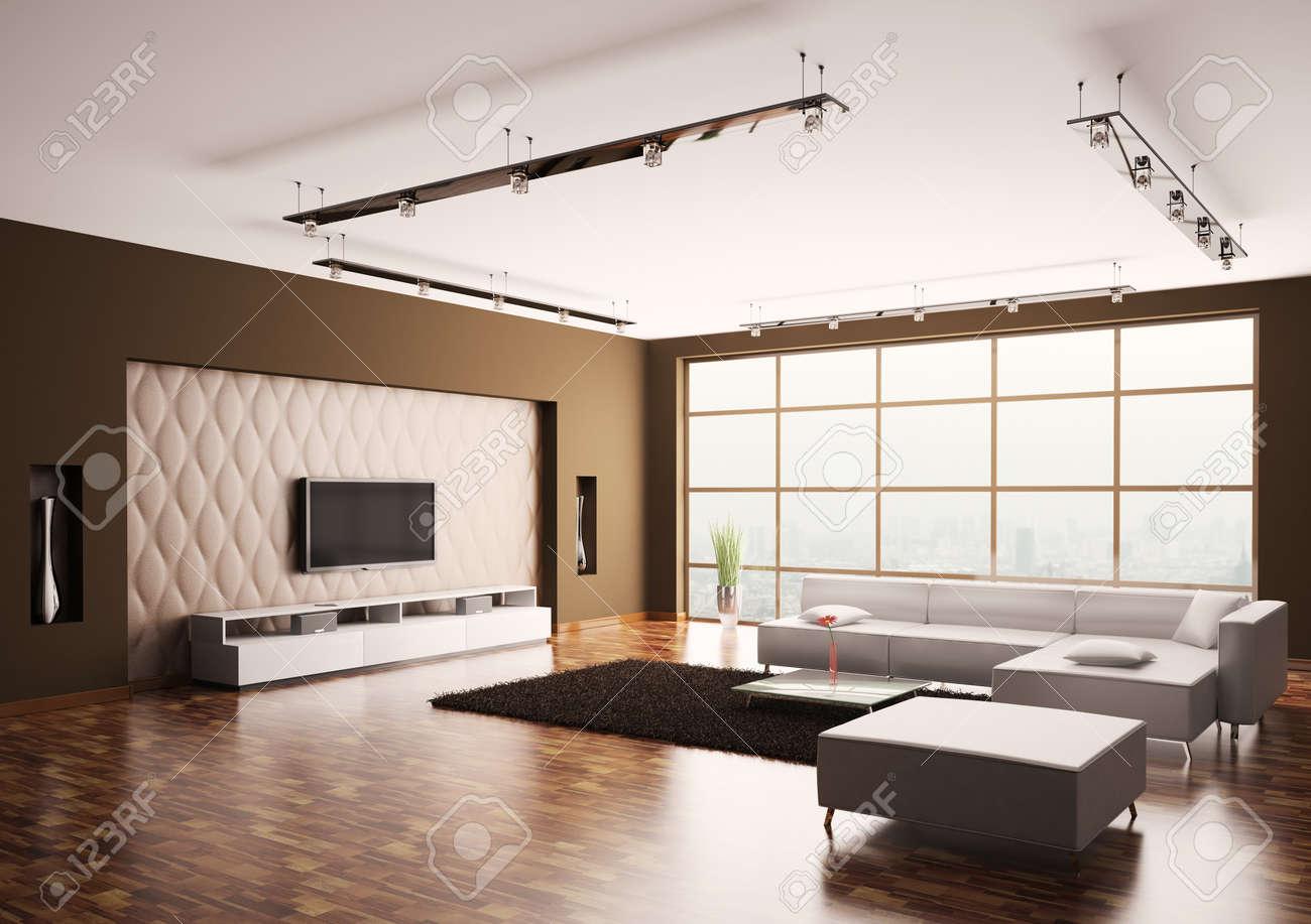 Moderne woonkamer met lcd en witte bank interieur 3d royalty vrije ...
